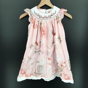 Lil Cactus Smocked Dress Pink Floral flutter sleeve a-line ruffle fancy 5Y girls
